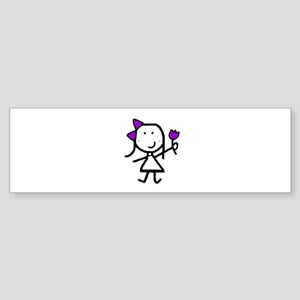 Girl & Purple Flower Bumper Sticker