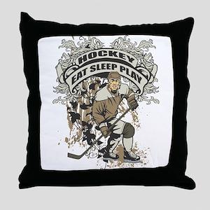 Eat, Sleep, Play Hockey Throw Pillow