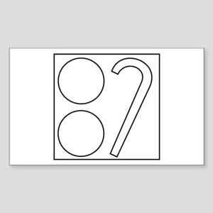 Two Ball Cane Rectangle Sticker