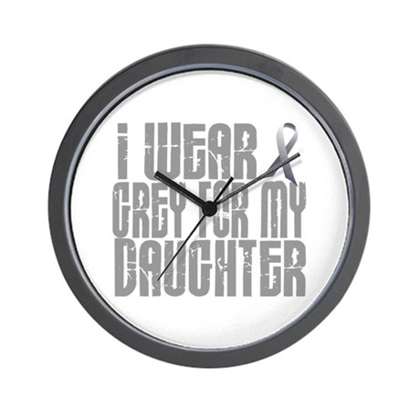 I Wear Grey For My Daughter 16 Wall Clock