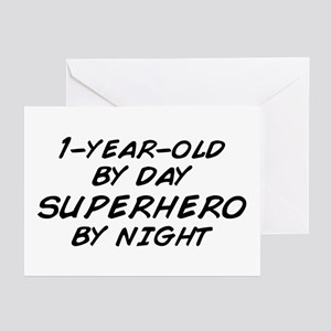 1 Year Old Superhero By Night Greeting Cards Pk O