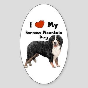 I Love My Bernese Mtn Dog Oval Sticker
