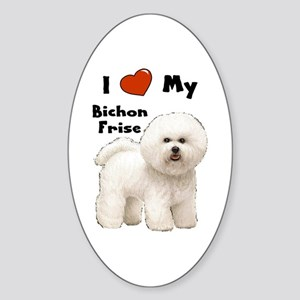 I Love My Bichon Frise Oval Sticker