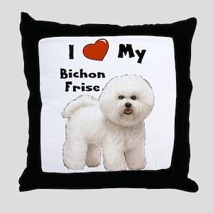I Love My Bichon Frise Throw Pillow