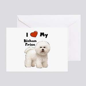 I Love My Bichon Frise Greeting Card