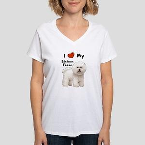 I Love My Bichon Frise Women's V-Neck T-Shirt