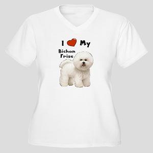 I Love My Bichon Frise Women's Plus Size V-Neck T-