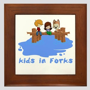Kids in Forks Framed Tile