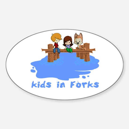 Kids in Forks Oval Decal