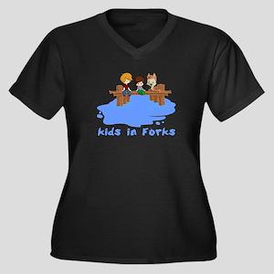 Kids in Forks Women's Plus Size V-Neck Dark T-Shir