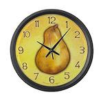 Yellow Pear Large Wall Clock
