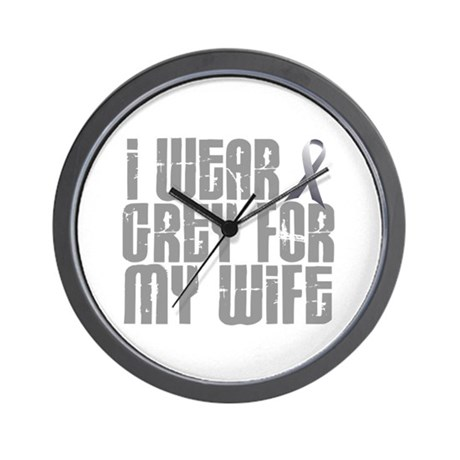 I Wear Grey For My Wife 16 Wall Clock