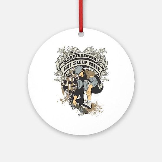 Eat, Sleep, Ride Skateboard Ornament (Round)