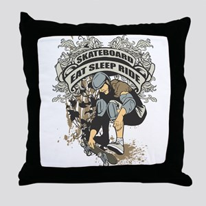 Eat, Sleep, Ride Skateboard Throw Pillow