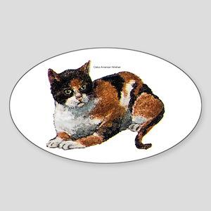 Calico Cat Oval Sticker