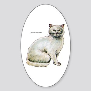 Turkish Angora Cat Oval Sticker