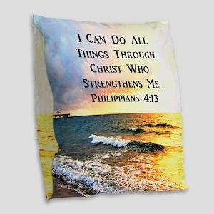 PHIL 4:13 VERSE Burlap Throw Pillow