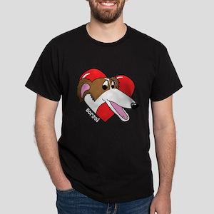 Cartoon Borzoi Love Dark T-Shirt