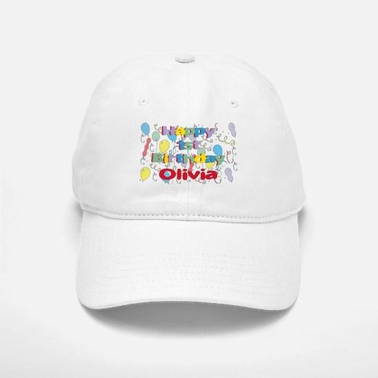 Olivia's 1st Birthday Baseball Baseball Cap