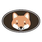 Shiba Inu Face Oval Sticker (10 pk)
