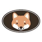 Shiba Inu Face Oval Sticker
