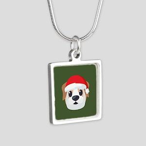 Dog Santa Emoji Silver Square Necklace