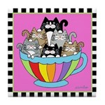 Catpuccino 6 Cats in Coffee Cup Pink Tile Coaster
