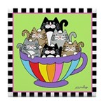 Catpuccino 6 Cat in Coffee Cup Green Tile Coaster