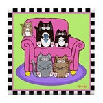 Movie Night - 5 Cats & Pink Chair Tile Coaster