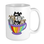 Catpuccino, 6 Cats in a Coffee Cup, Large Mug