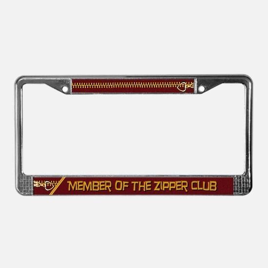 Zipper Club License Plate Frame