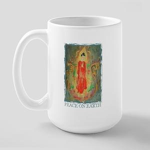 enlightened budda peace on ea Large Mug