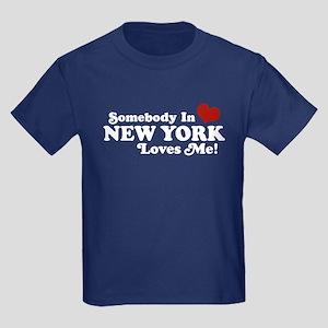 Somebody in New York Loves Me Kids Dark T-Shirt