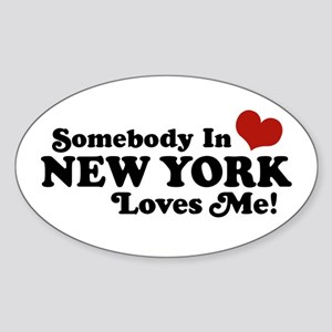Somebody in New York Loves Me Oval Sticker