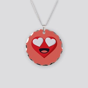 Heart Love Emoji Necklace Circle Charm