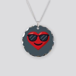 Heart Sunglasses Emoji Necklace Circle Charm