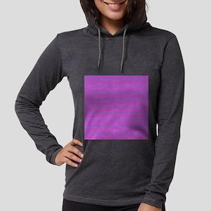 Purple Horizontal Stripes Womens Hooded Shirt