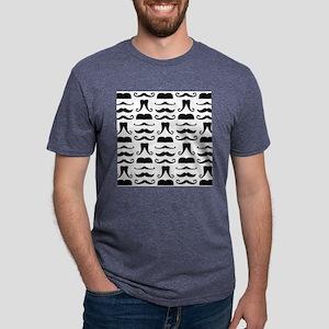 Mustache Print Mens Tri-blend T-Shirt