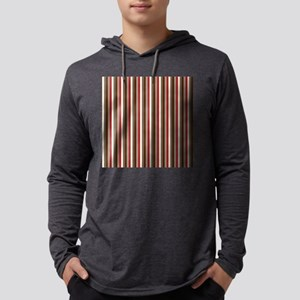 Red Gray Brown Stripes Mens Hooded Shirt