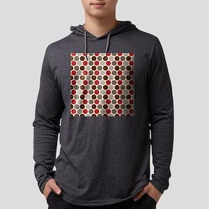 Red Gray Polka Dots Mens Hooded Shirt