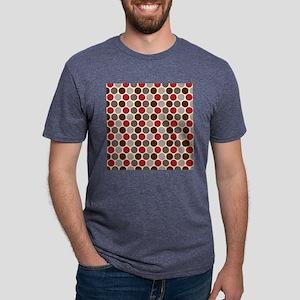 Red Gray Polka Dots Mens Tri-blend T-Shirt
