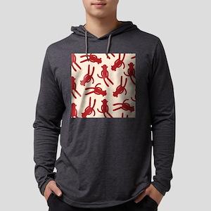 Silhouette Sock Monkey Mens Hooded Shirt