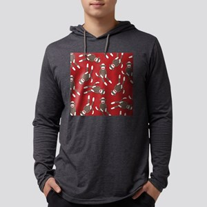 Red Sock Monkey Print Mens Hooded Shirt