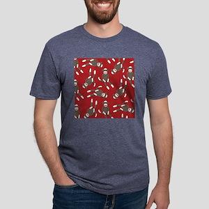 Red Sock Monkey Print Mens Tri-blend T-Shirt