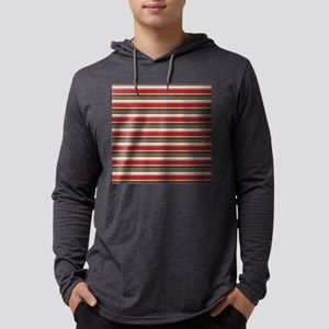 Red Gray Brown Horizontal Stripes Mens Hooded Shir