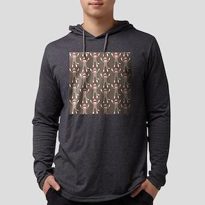 Grey Sock Monkey Print Mens Hooded Shirt