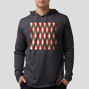 Argyle Red Gray Mens Hooded Shirt