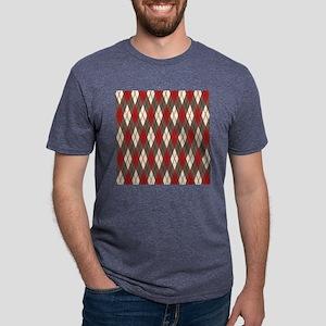 Argyle Red Gray Mens Tri-blend T-Shirt