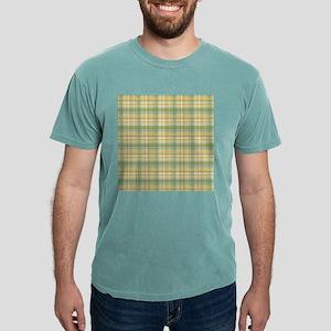 Yellow Green Plaid Print Mens Comfort Colors® Shir