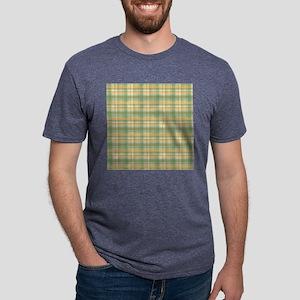 Yellow Green Plaid Print Mens Tri-blend T-Shirt